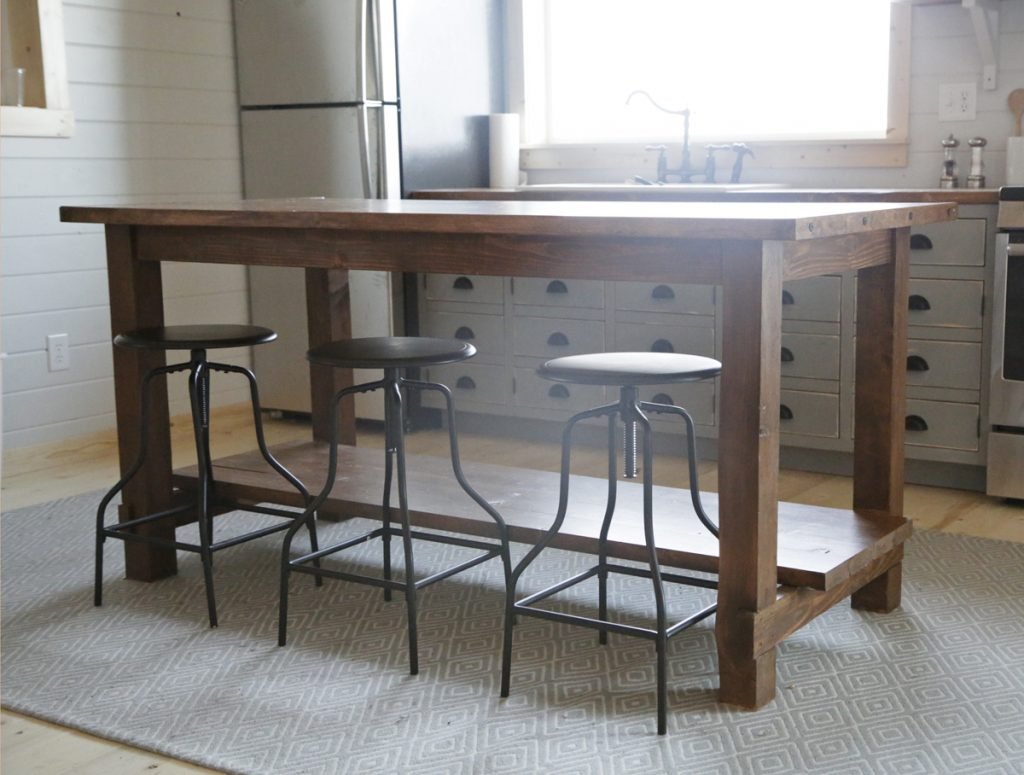 workbench style island with stools for eating