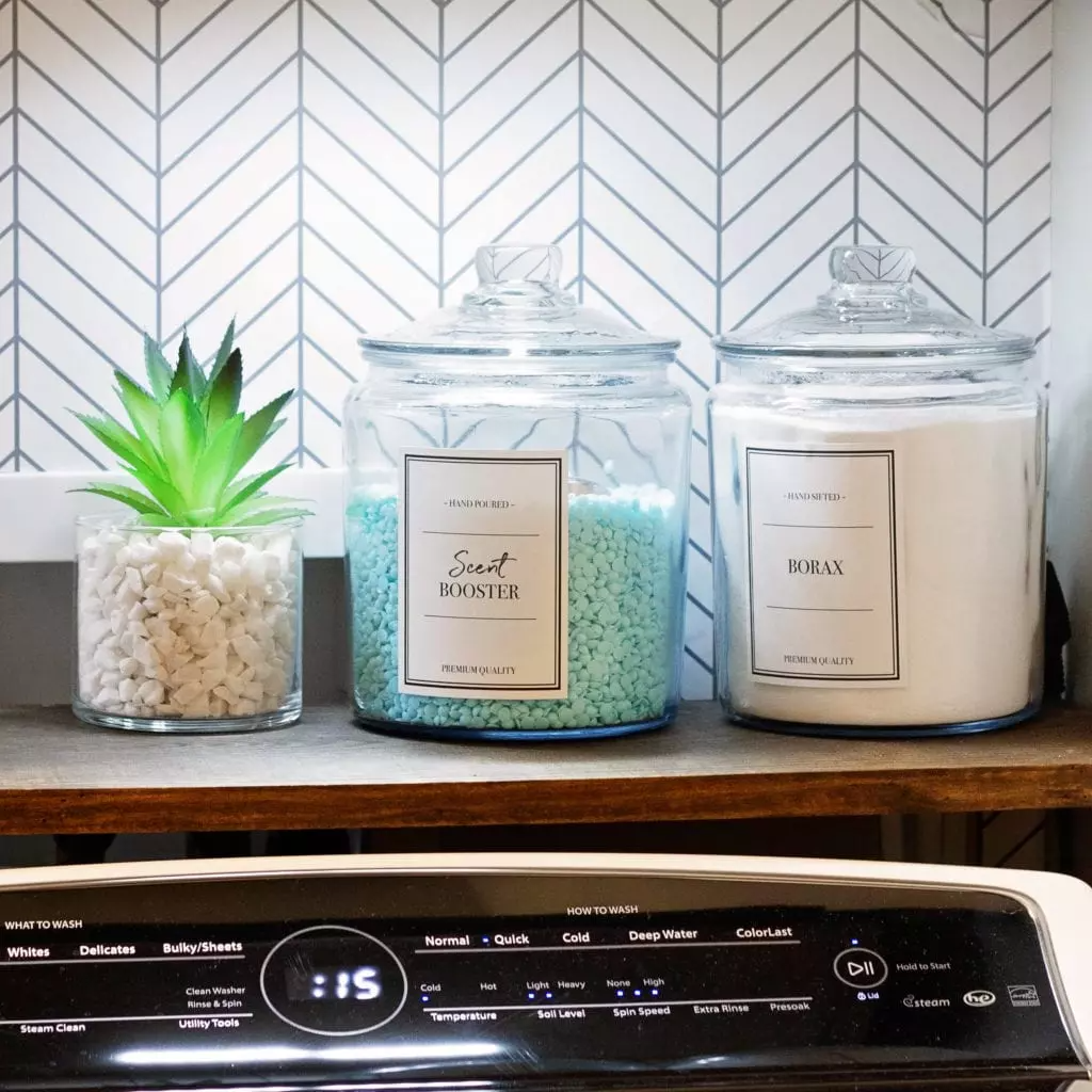 Laundry room makeover idea, glamorous storage with glass jars  Image Source: Practical Perfectionut