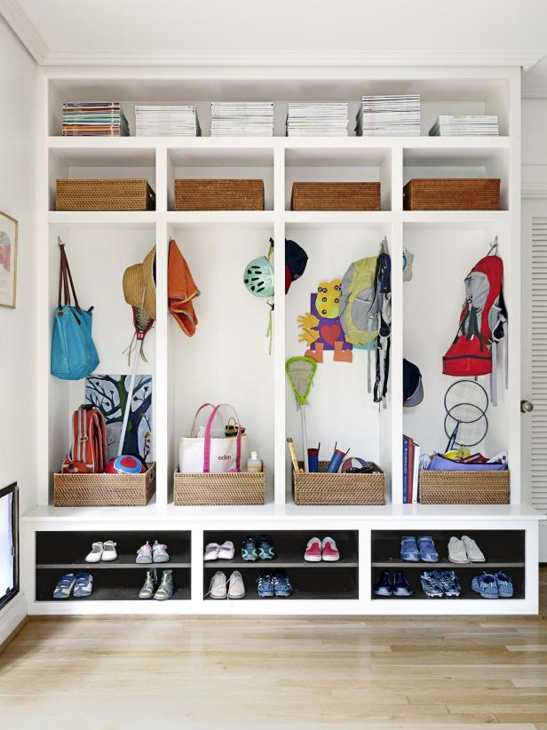 Laundry room makeover idea, kid drop zone  Image source: hgtv - jean allsopp