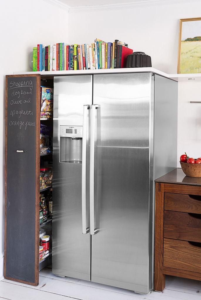 pull out pantry allows for discreet storage