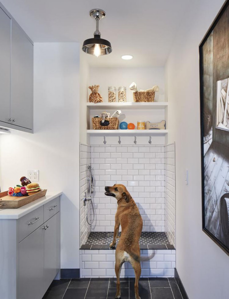 Laundry room makeover idea, add a dog washing station!  Image Source: Martha O'Hara Interiors