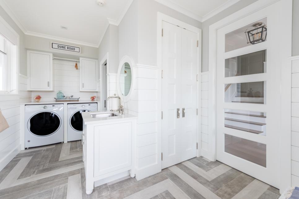 Laundry room makeover idea, funky flooring for a visual appeal!  Image source: HGTV - Andy Vinson
