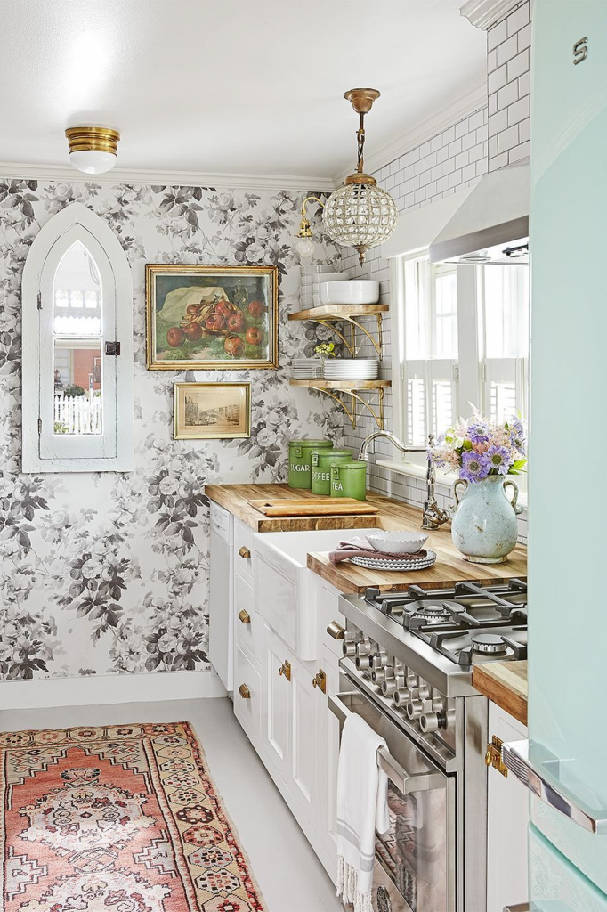 Stylish Small Kitchens, large printed wallpaper creates a focal point in a small kitchen