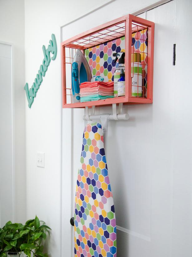 Laundry room makeover idea, use behind the door for even more storage!  Image source: HGTV