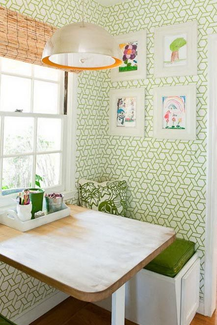 turn an unused corner into a reading or eating nook.