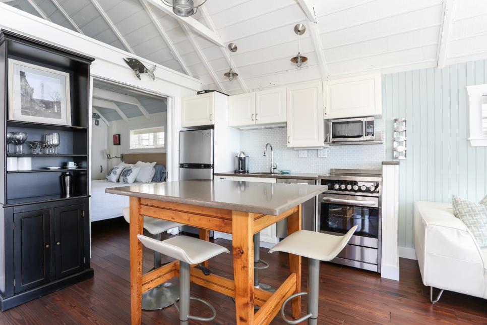 Stylish Small Kitchens, use a book shelf to storage space