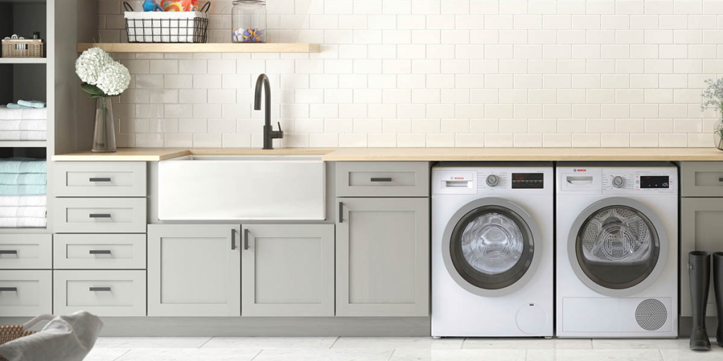Laundry room make over idea, Install lower cabinets for storage in your laundry room makeover.  Image Source: https://www.dumpsters.com/blog/how-to-renovate-a-laundry-roomX