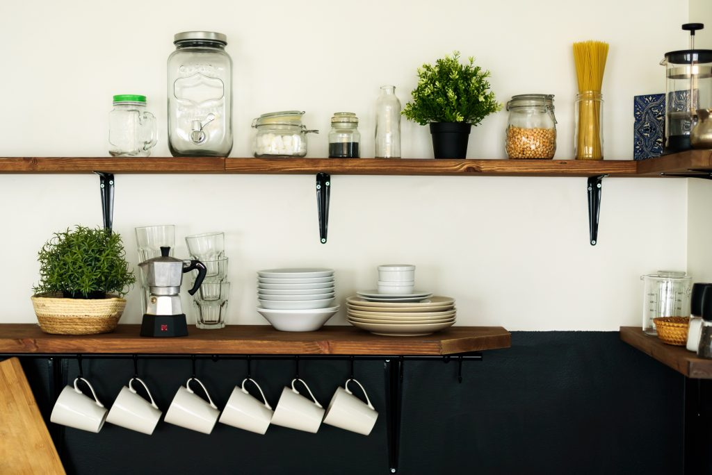 budget-friendly kitchen idea, open shelves with natural finish