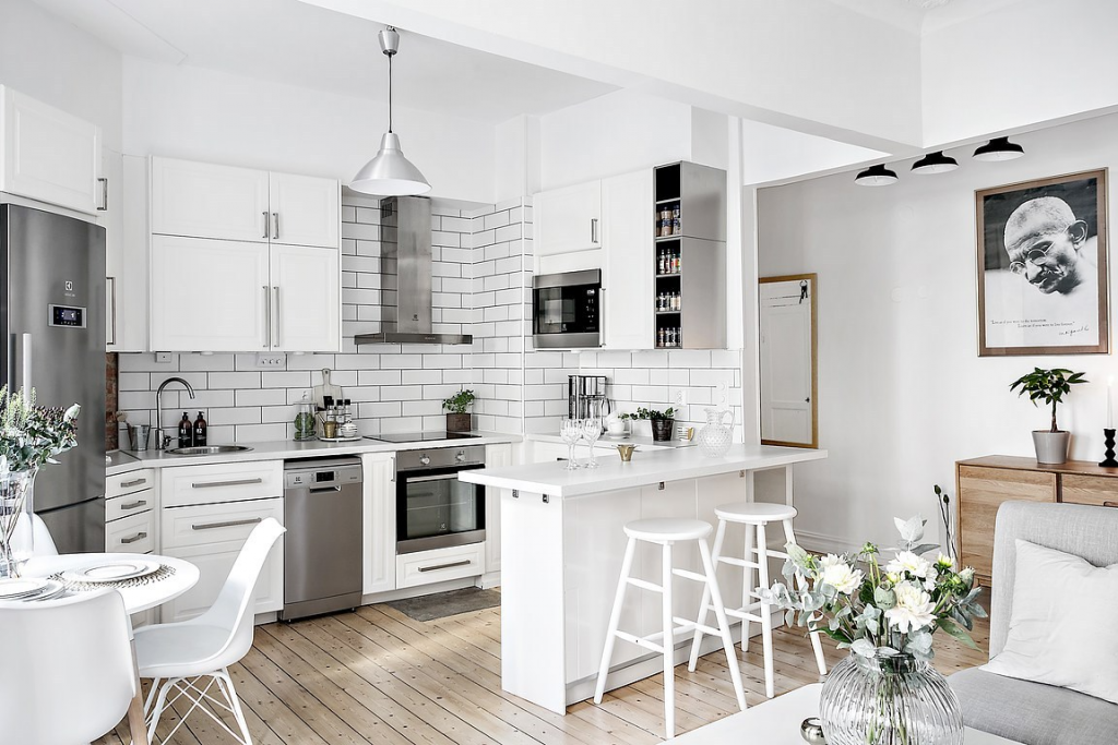 Stylish Small Kitchens, go vertical and take advantage of high ceilings!