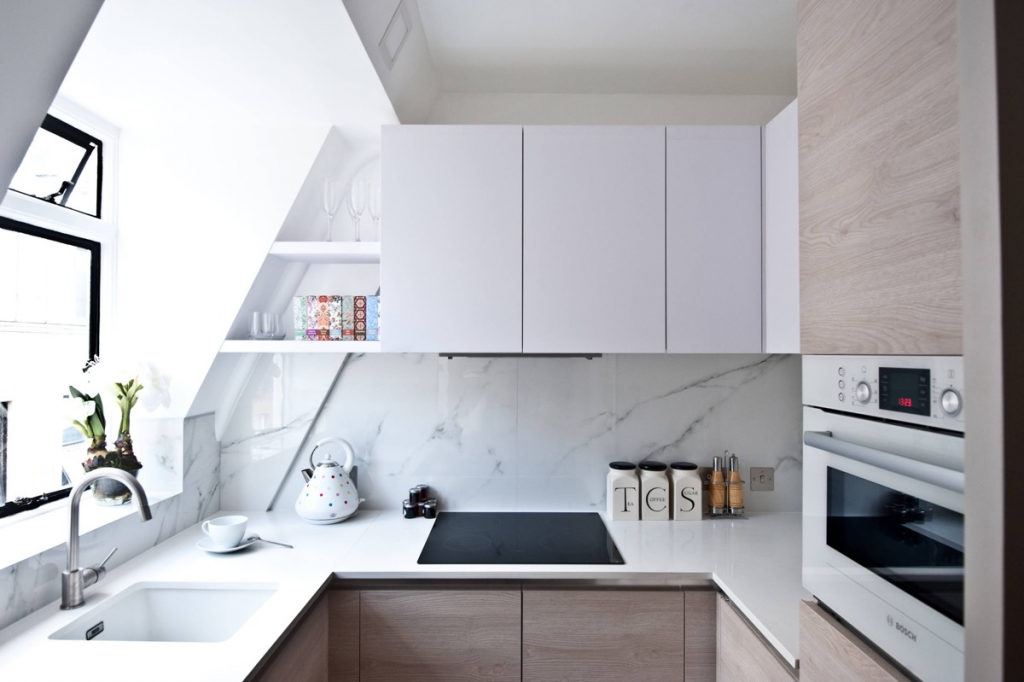 Stylish Small Kitchens, use shelves to fill awkward gaps in spaces