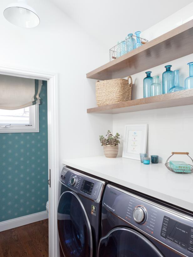 laundry room make over idea, use open shelving for an airy space.  Image source: HGTV – Amy Bartiam