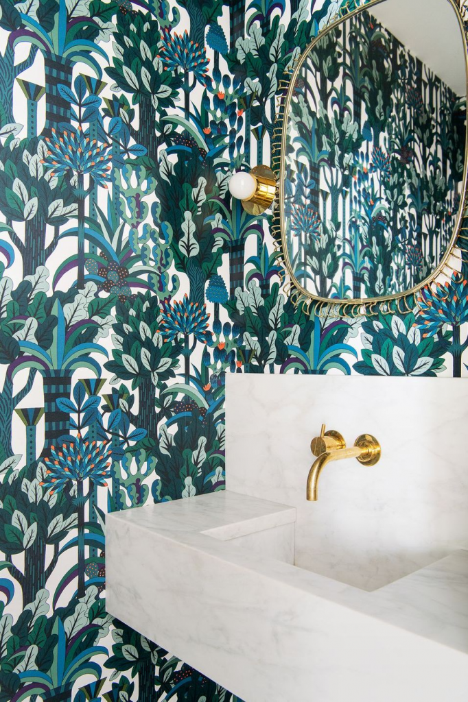blue and green whimsy botanical wallpaper