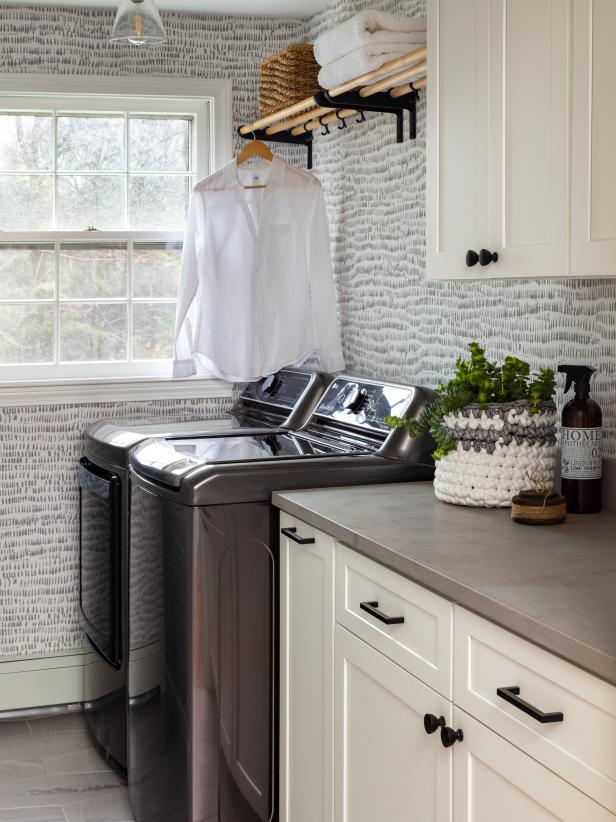 Laundry Room Makeover idea, install a drying rack for hang to dry clothing.   Image Source: HGTV – Kyle Caldwell