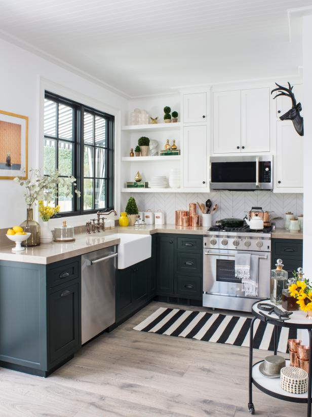 Stylish Small Kitchens, black cabinets with butcher block counter