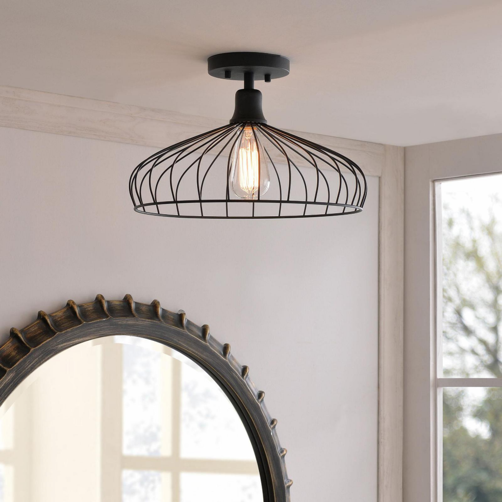 Laundry room makeover idea, swap out the lighting fixture  Image source: Worldmarket