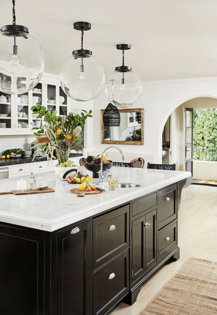 white kitchen with a contrasting color cabinets