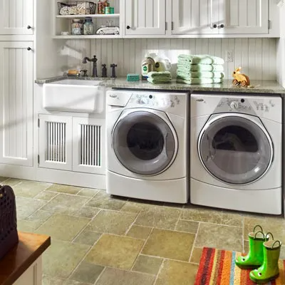 Laundry room makeover idea, adda counter top.  Source: This Old House