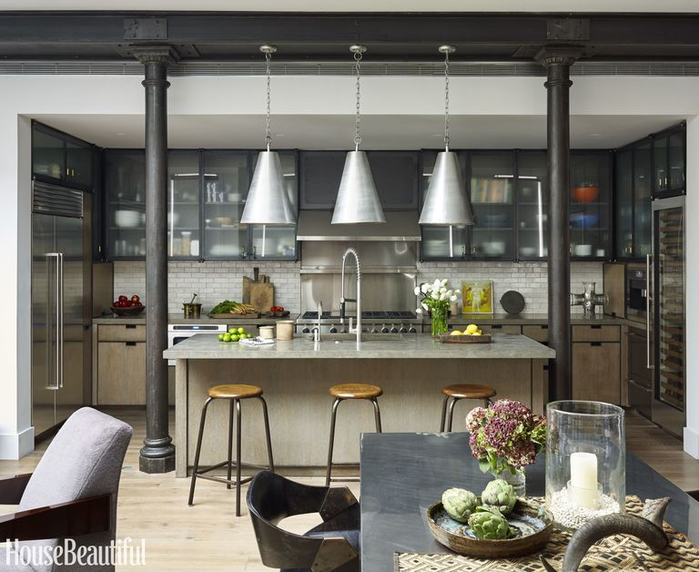 Industrial Style Kitchen, muted color palettes, black, grey, silver, brown, and white tones are favorites.   Source: House Beautiful and hearstapps.com/hbu.h-cdn.co/assets/16/23/3200x2617/gallery-1465239399-industrial-kitchen.jpg?resize=768-*