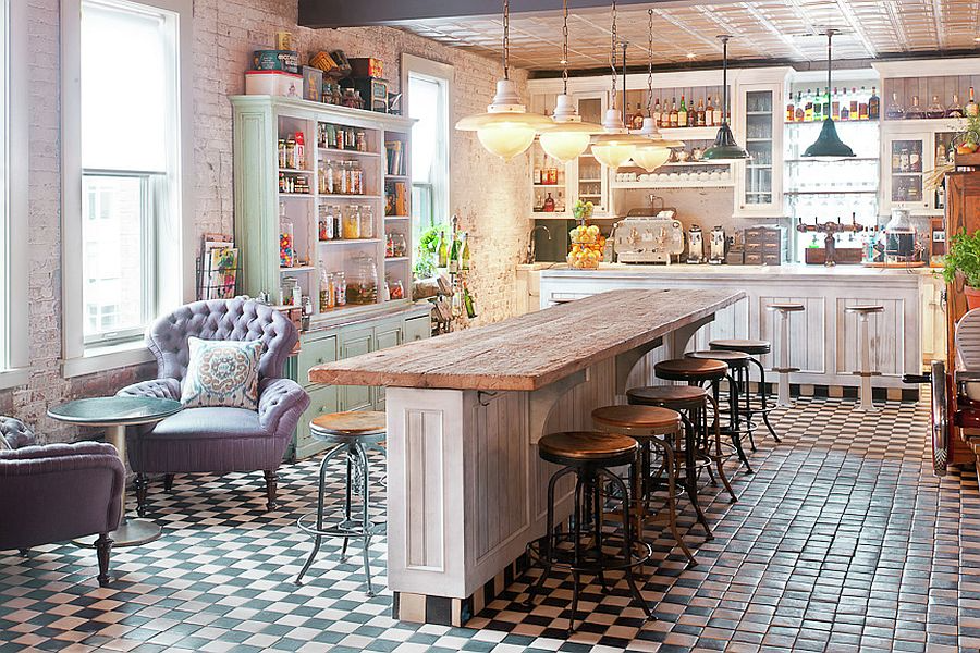 Shabby Chic Kitchen, vintage, modern and chic.   Source: Soho House New York