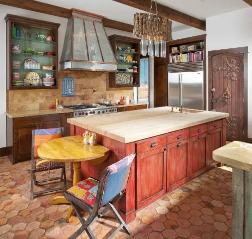 Southwest Style Kitchen, takes aesthetic cues from Spanish, Mexican, and Native American Cultures.   Source: houzz.com/photos/ashley-astleford-southwestern-kitchen-san-diego-phvw-vp~415601