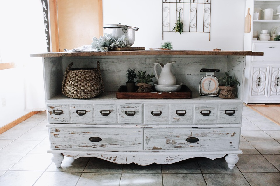 dresser turned island source: roost a restore