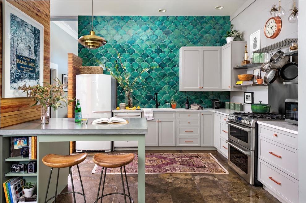 eclecitc mismatched textures kitchen source: gina Sims Designs