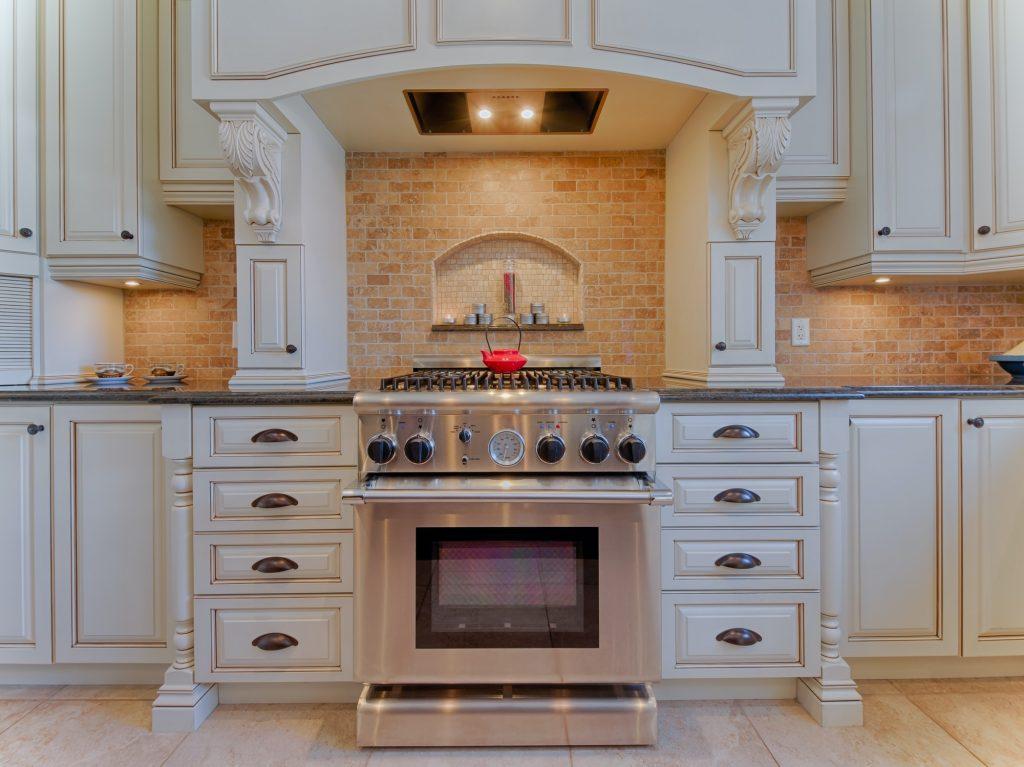Gas stove in luxury kitchen