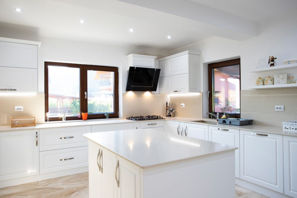 large kitchen with a large kitchen in the middle