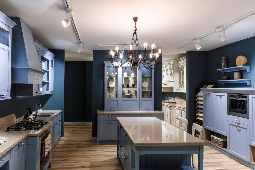 Interior of monochromatic modern kitchen in blue tones