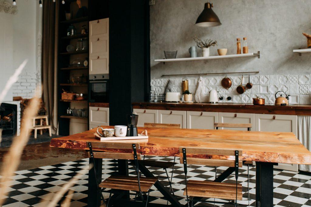 Kitchen, dark interior, home, indoors, table, loft, dining
