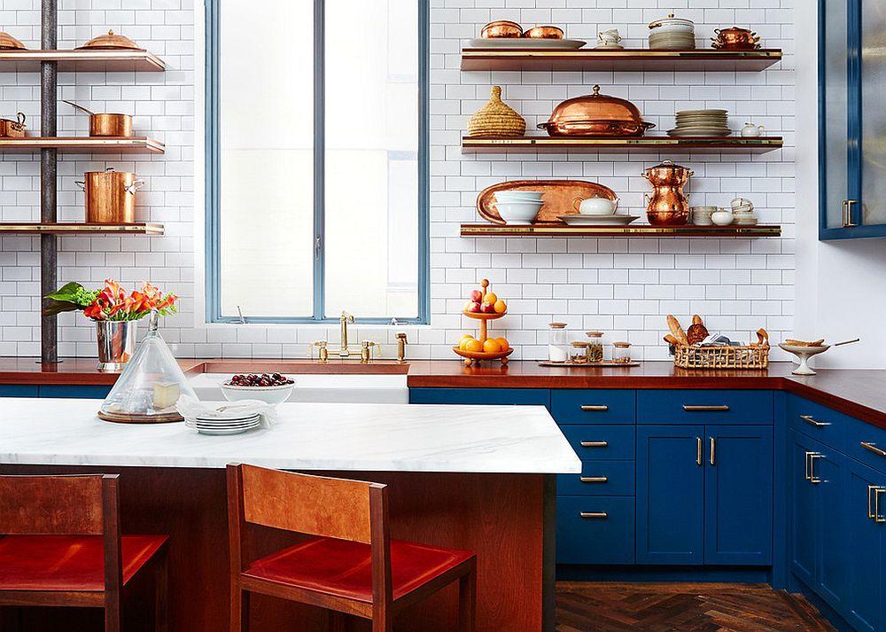 modern kitchen with gold metallic accents Source: decoist.com