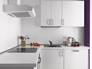 Modern kitchen interior with White Wall Cabinets