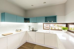 Modern white and turquoise kitchen