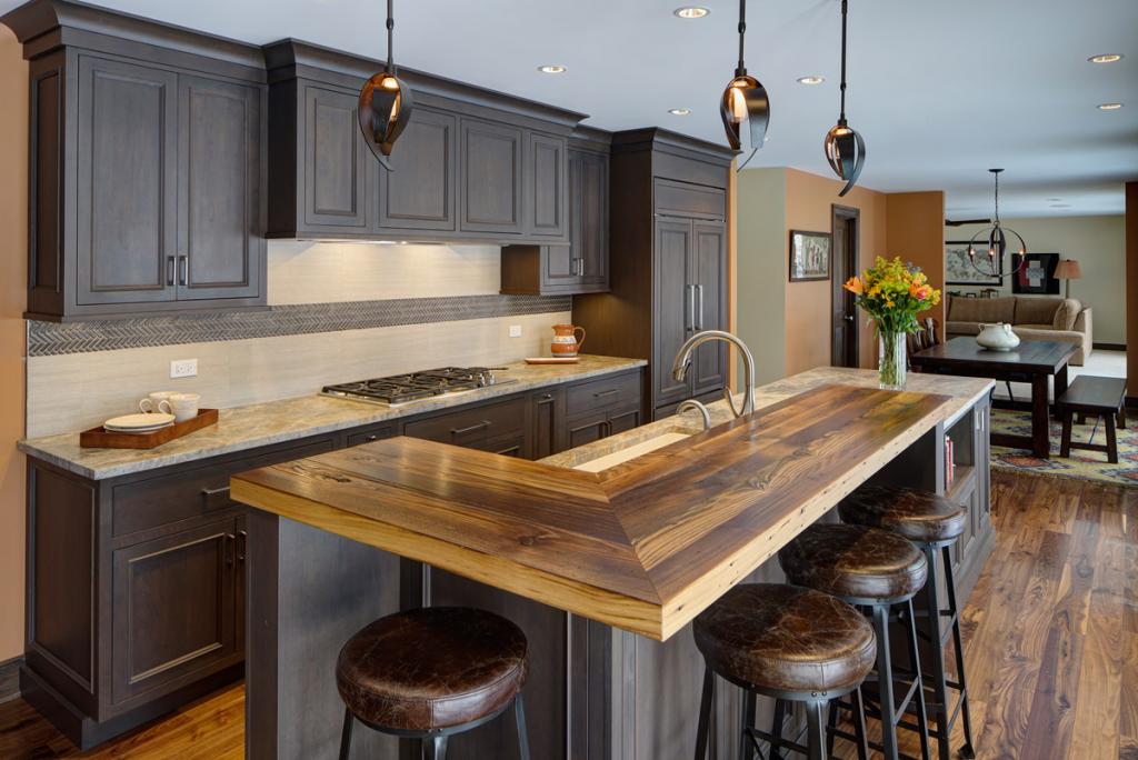 reclaimed wood bar top source: Design by Alicia Saso, AKBD, of Drury Design Kitchen & Bath Studio