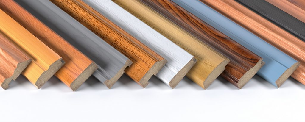 Set of wooden furniture CMD or MDF profiles. Smaples of baseboar