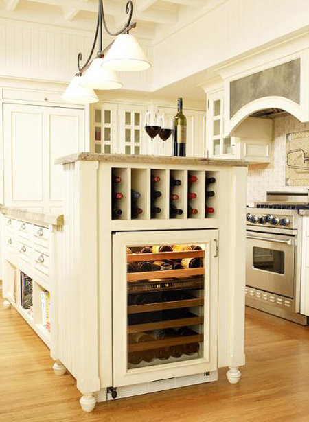 wine nook in kitchen with wine fridge Source: DecoratingFiles.com