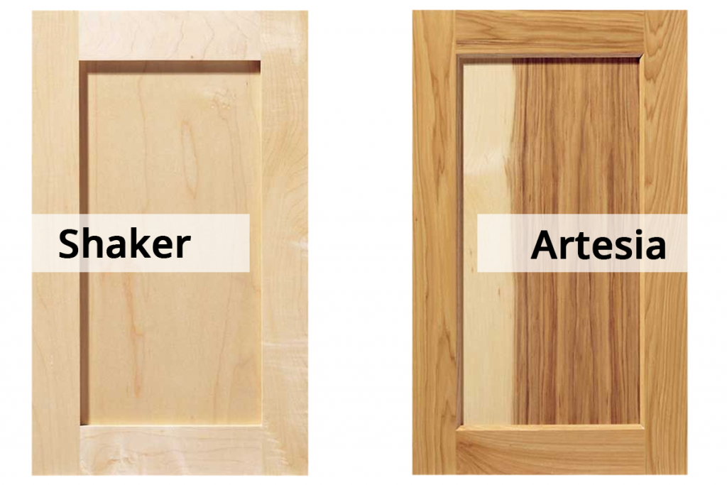 wood cabinet styles shaker and artesia