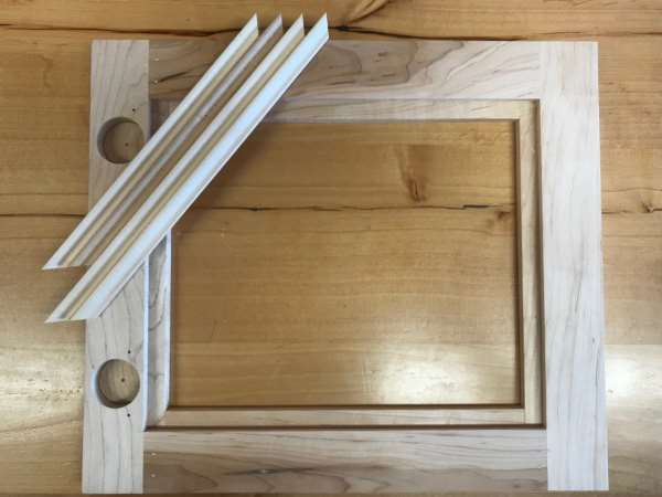 Door cut for glass disassembled